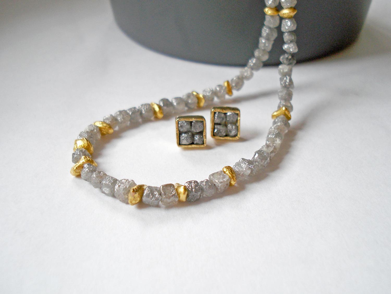 Diamantrohsteinkette mit Feingoldnuggets_2