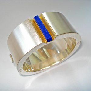 Armreif Silber, Gold, Lapislazuli_2